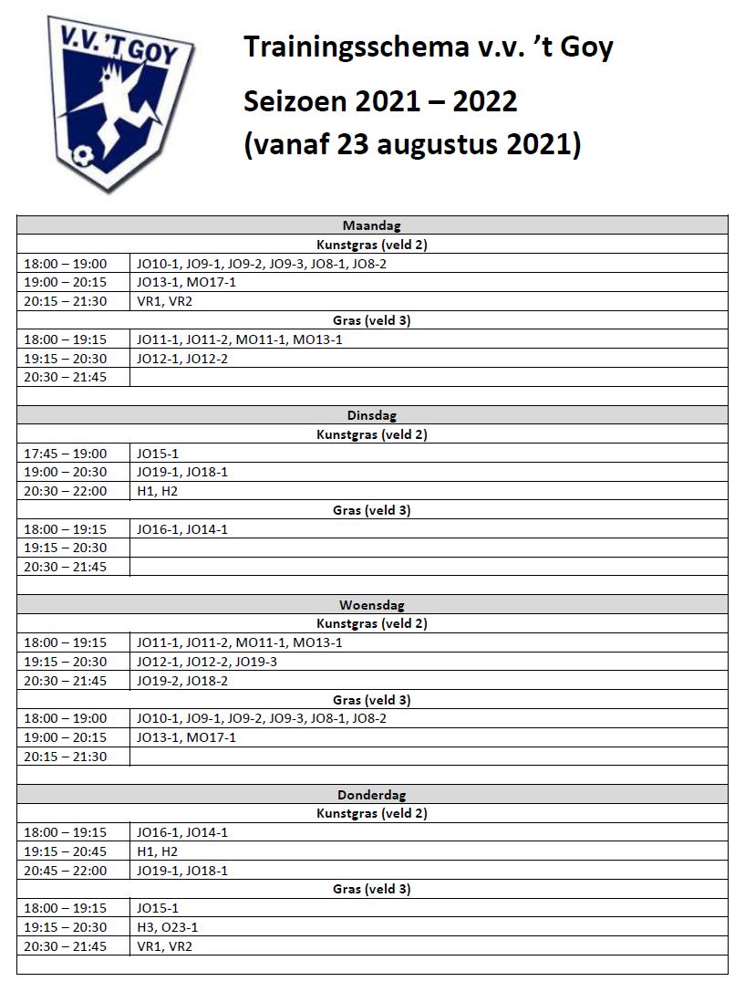 Trainingsschema 2021-2022