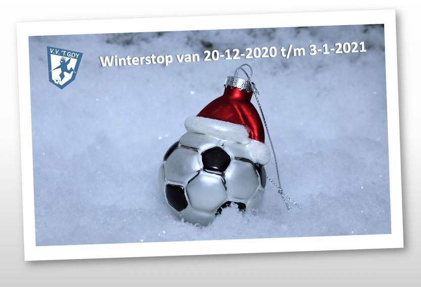 Winterstop 20/12/2020 t/m 3/1/2021